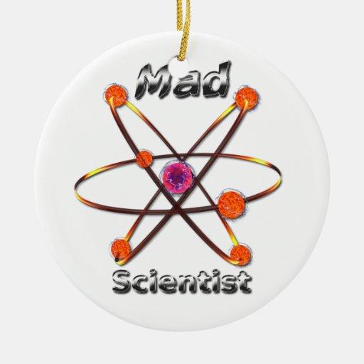 Científico enojado adorno navideño redondo de cerámica