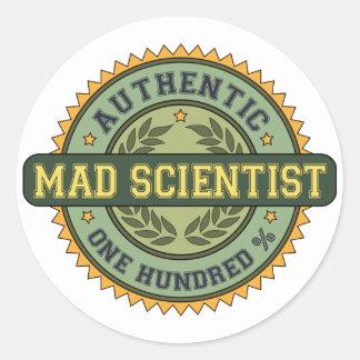 Científico enojado auténtico pegatina redonda