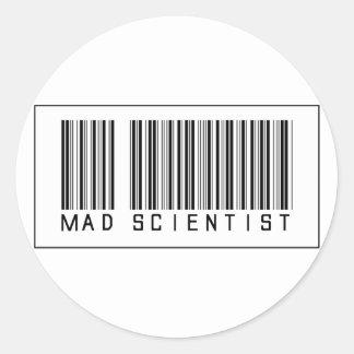 Científico enojado del código de barras pegatina redonda