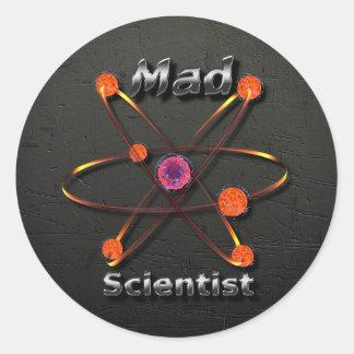 Científico enojado etiquetas redondas