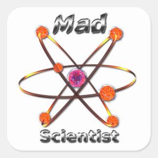 Científico enojado pegatina cuadrada