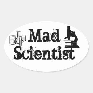 Científico enojado pegatina ovalada