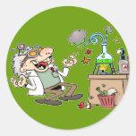 Científico enojado pegatina redonda