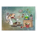 Científico enojado tarjetón