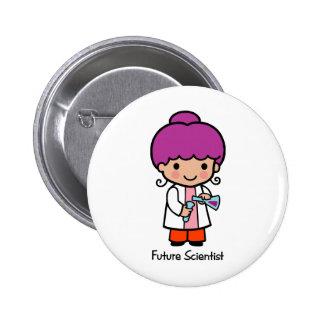 Científico futuro - chica pin redondo de 2 pulgadas