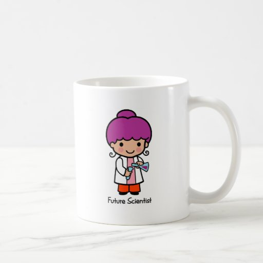Científico futuro - chica taza de café