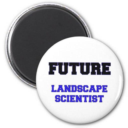 Científico futuro del paisaje imán de frigorífico