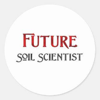 Científico futuro del suelo pegatina redonda