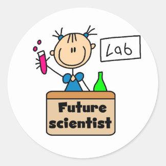 Científico futuro etiqueta redonda