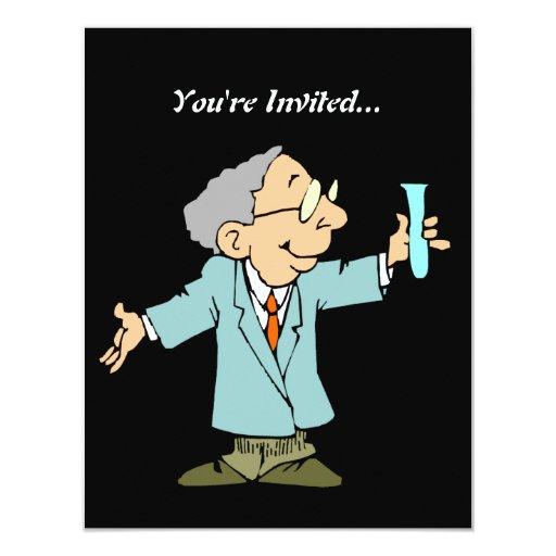 """Científico lindo en capa del laboratorio invitación 4.25"""" x 5.5"""""""