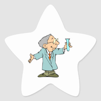Científico lindo en capa del laboratorio calcomania forma de estrella personalizadas