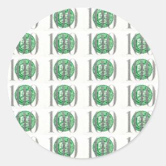 Cientos billetes de dólar pegatina redonda