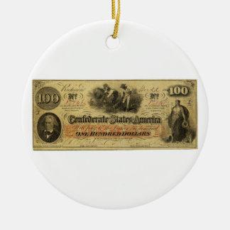 Cientos dólares de estados de América confederados Adorno Redondo De Cerámica