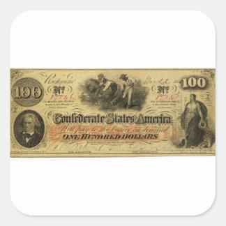 Cientos dólares de estados de América confederados Pegatina Cuadrada