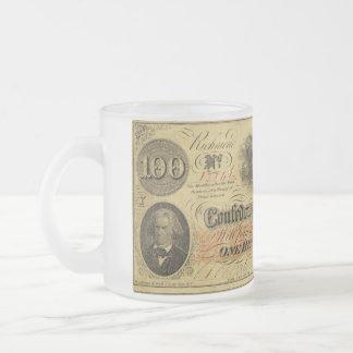 Cientos dólares de estados de América confederados Taza De Café Esmerilada