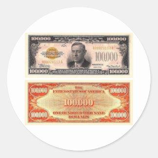 Cientos mil billetes de dólar pegatina redonda