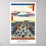 Cientos vistas famosas de Edo Ando Hiroshige Póster