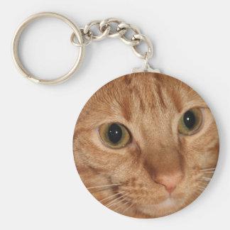 Cierre anaranjado de la cara del perfil del gato llaveros