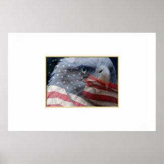 Cierre de Eagle para arriba con la bandera Póster