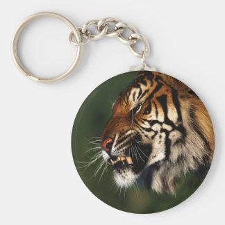 Cierre de la cabeza del tigre para arriba llaveros personalizados