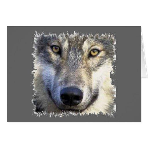 Cierre de la cara del lobo para arriba felicitación