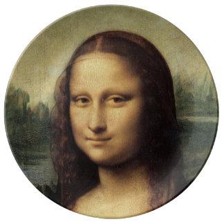 Cierre de Mona Lisa para arriba por Leonardo da Vi Platos De Cerámica