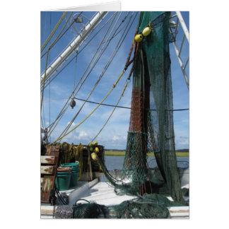 Cierre del barco del camarón para arriba en tarjeta pequeña
