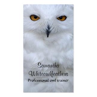 Cierre del búho Nevado encima de la tarjeta de Tarjetas De Visita