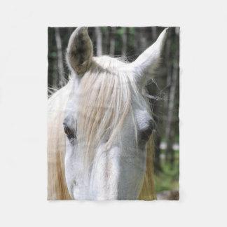 Cierre del caballo blanco para arriba manta de forro polar