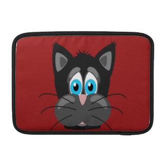 Cierre del gato del dibujo animado para arriba funda macbook air
