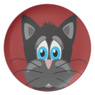 Cierre del gato del dibujo animado para arriba plato