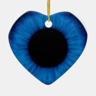Cierre del ojo azul de Halloween para arriba Adorno Navideño De Cerámica En Forma De Corazón