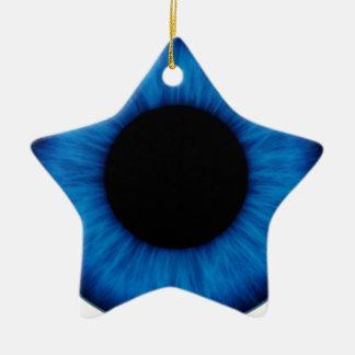 Cierre del ojo azul de Halloween para arriba Adorno Navideño De Cerámica En Forma De Estrella