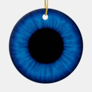 Cierre del ojo azul de Halloween para arriba Adorno Navideño Redondo De Cerámica
