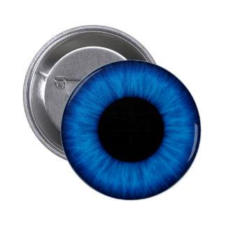 Cierre del ojo azul de Halloween para arriba Pin Redondo 5 Cm