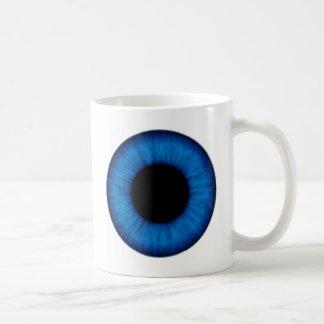 Cierre del ojo azul de Halloween para arriba Tazas De Café