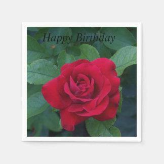Cierre del rosa rojo para arriba servilletas de papel