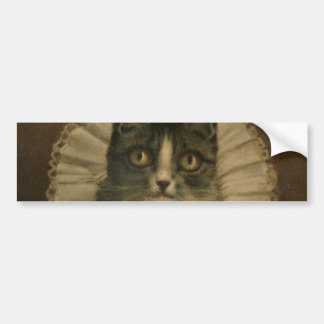 Cierre del siglo XIX de la impresión del gato del  Etiqueta De Parachoque