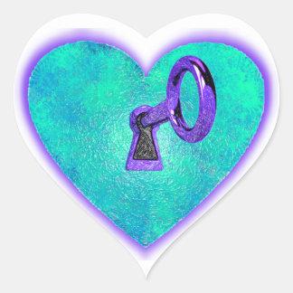 Cierre el corazón pegatina en forma de corazón