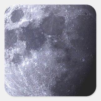 Cierre grande para arriba de la luna - el satélite pegatina cuadrada