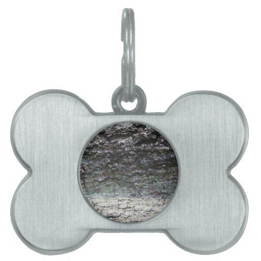 Cierre gris de la corteza de árbol para arriba que placas de nombre de mascota