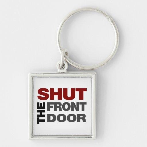 Cierre la puerta principal llavero cuadrado plateado