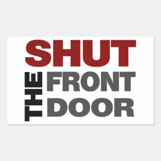 Cierre la puerta principal pegatina rectangular
