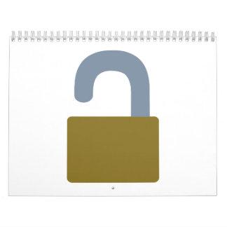 Cierre la seguridad del icono calendario de pared