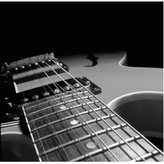 Cierre para arriba - B&W gris de la guitarra Imán Fotoescultura