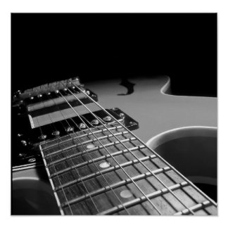 Cierre para arriba - B&W gris de la guitarra Póster