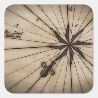 Cierre para arriba del rosa de viento en mapa anti pegatinas cuadradas