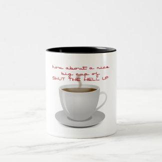 Cierre para arriba taza de café de dos colores