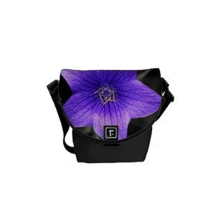 Cierre púrpura de la flor encima de la foto macra bolsas de mensajeria