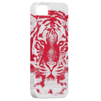 Cierre rojo y blanco de la cara del tigre para arr iPhone 5 cárcasa